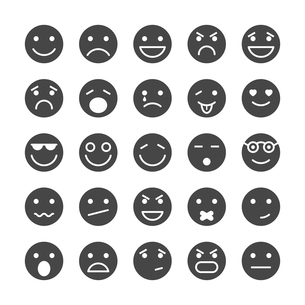 Smiley faces icons set of emotions mood and expression isolated vector illustrationのイラスト素材 [FYI03090890]