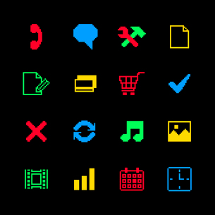 Colored pixel icons set for online shopping of cart call media payments isolated vector illustrationのイラスト素材 [FYI03090892]