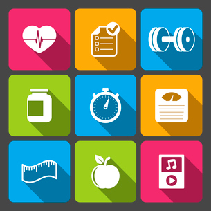 Healthy lifestyle iconset for fitness app isolated vector illustrationのイラスト素材 [FYI03090896]