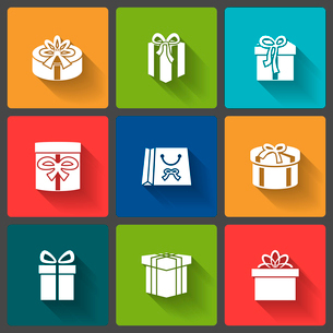 Gift boxes icons set for mobile shopping application isolated vector illustrationのイラスト素材 [FYI03090897]