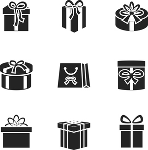 Gift boxes icons set with different ribbons and bows isolated vector illustrationのイラスト素材 [FYI03090898]