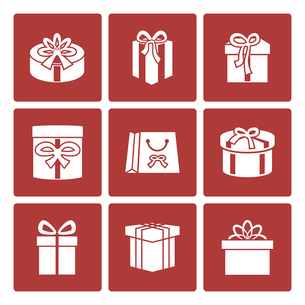 Present boxes icons set for online delivery website isolated vector illustrationのイラスト素材 [FYI03090899]