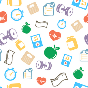 Healthy lifestyle elements background pattern vector illustrationのイラスト素材 [FYI03090901]