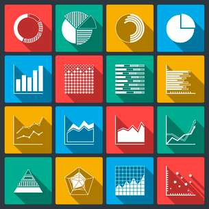 Business icons of ratings graphs and charts, infographic elements set isolated vector illustrationのイラスト素材 [FYI03090902]