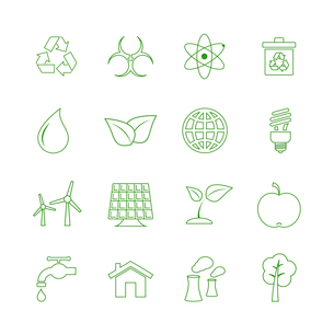 Green ecology icons set biofuel renewable power and pollution isolated vector illustrationのイラスト素材 [FYI03090903]