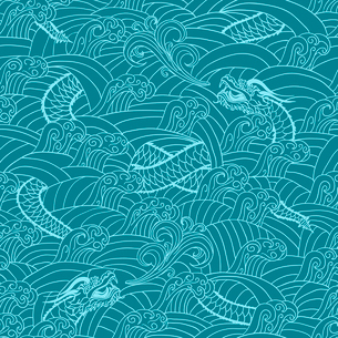 Asian pattern with dragon background vector illustrationのイラスト素材 [FYI03090914]
