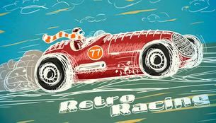 Retro racing car poster isolated vector illustrationのイラスト素材 [FYI03090918]