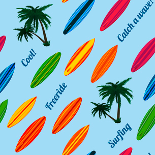 Seamless vacation pattern with surfboards vector illustrationのイラスト素材 [FYI03090921]