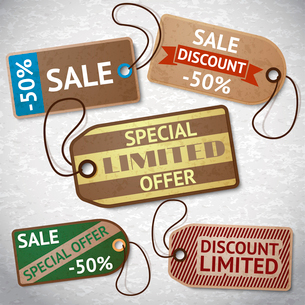 Collection of discount cardboard sale labels vector illustrationのイラスト素材 [FYI03090922]