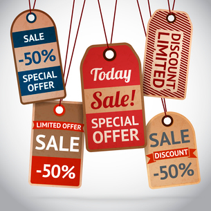 Collection of discount cardboard sale labels vector illustrationのイラスト素材 [FYI03090926]