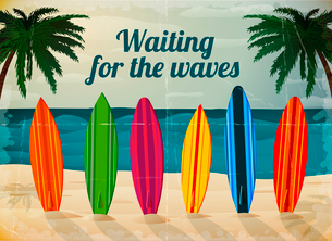 Holiday surfboards on the ocean beach card vector illustrationのイラスト素材 [FYI03090927]