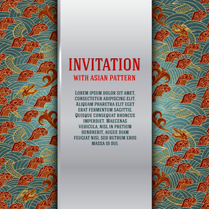 Asian invitation card with dragons and waves vector illustrationのイラスト素材 [FYI03090929]