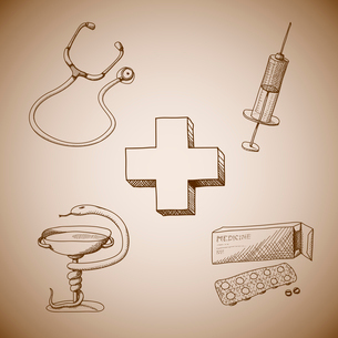 Collection of medical symbols of phonendoscope pills and syringe isolated vector illustrationのイラスト素材 [FYI03090935]
