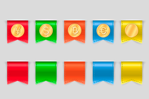 Collection of coins for finance or money app on tags vector illustrationのイラスト素材 [FYI03090937]