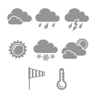 Weather symbols set, contrast flat isolated vector illustrationのイラスト素材 [FYI03090941]