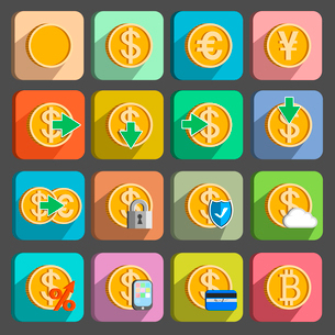 Icons set for electronic payments and transactions UI design in gold isolated vector illustrationのイラスト素材 [FYI03090945]