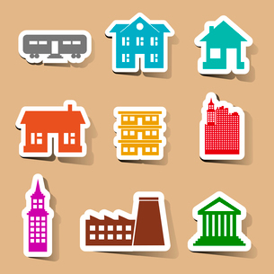 Building icons set on color stickers vector illustrationのイラスト素材 [FYI03090946]