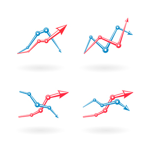 Business graph icons set isolated vector illustrationのイラスト素材 [FYI03090952]