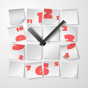 Creative clock with digits from stickers to take notes vector illustrationのイラスト素材 [FYI03090955]