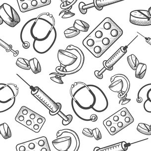 Seamless background of medical items of phonendoscope pills and syringe isolated vector illustrationのイラスト素材 [FYI03090958]