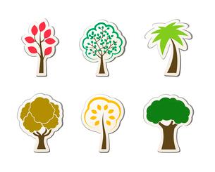 Tree symbols for green web design oak palm maple isolated vector illustrationのイラスト素材 [FYI03090966]