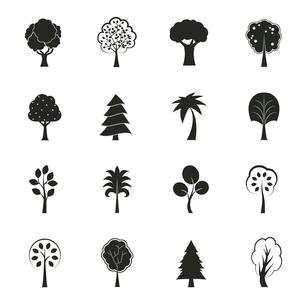 Abstract ecology growth icons set pine fir oak and other trees isolated vector illustrationのイラスト素材 [FYI03090968]