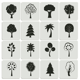 Green forest trees design elements of pine fir oak isolated vector illustrationのイラスト素材 [FYI03090970]