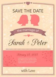 Save the date wedding invitation card template vector illustrationのイラスト素材 [FYI03090974]