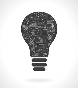 Doodle idea lightbulb icon with infographics charts isolated vector illustrationのイラスト素材 [FYI03090981]