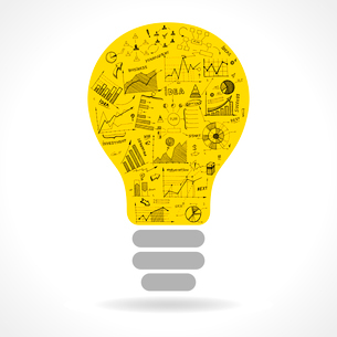 Doodle idea lightbulb icon with infographics charts isolated vector illustrationのイラスト素材 [FYI03090984]