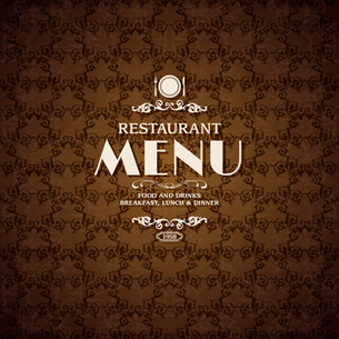 Restaurant cafe menu cover template with cooking elements vector illustrationのイラスト素材 [FYI03090987]