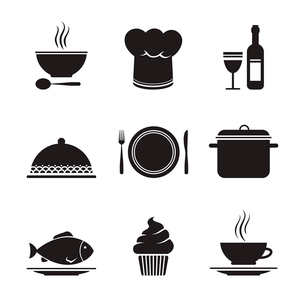 Collection of restaurant design elements for menu isolated vector illustrationのイラスト素材 [FYI03090988]