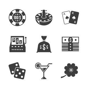 Casino iconset for design, contrast flat isolated vector illustrationのイラスト素材 [FYI03090990]