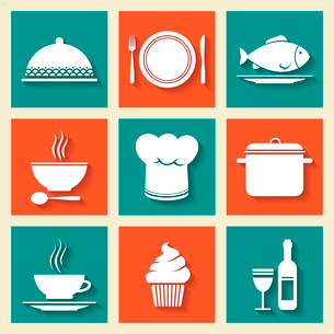 Restaurant cafe icons set of cooking hat dish kitchen stuff isolated vector illustrationのイラスト素材 [FYI03090992]