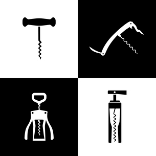 Set of black and white corkscrews vector illustrationのイラスト素材 [FYI03090993]