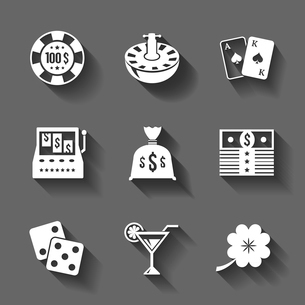 Gambling icons set isolated, contrast shadows vector illustrationのイラスト素材 [FYI03090994]