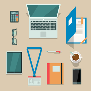 Top view on office workplace with mobile devices and documents isolated vector illustrationのイラスト素材 [FYI03090999]