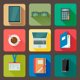 Business workplace icons set of notebook coffee tablet and mobile with shadows vector illustrationのイラスト素材 [FYI03091000]