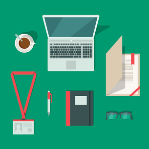 Top view on classic office workplace desk isolated vector illustrationのイラスト素材 [FYI03091001]