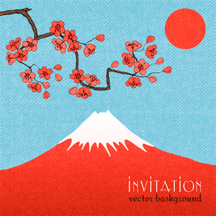 Sakura invitation card background or poster vector illustrationのイラスト素材 [FYI03091007]