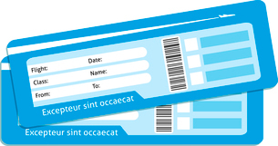 Blank plane tickets for business trip travel or vacation journey isolated vector illustrationのイラスト素材 [FYI03091014]