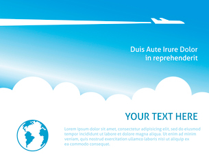 Airplane background for business trip or vacation journey banner vector illustrationのイラスト素材 [FYI03091018]