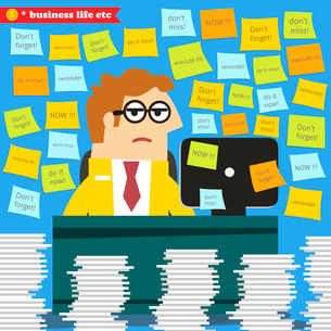 Business life. Hard work in progress, paperwork piles around the desk  vector illustrationのイラスト素材 [FYI03091021]