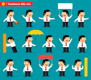 Business life. Adult at work emotional poses and situations set vector illustrationのイラスト素材 [FYI03091030]