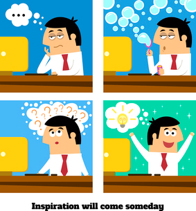 Business life. Inspiration or creative idea will come vector illustrationのイラスト素材 [FYI03091033]