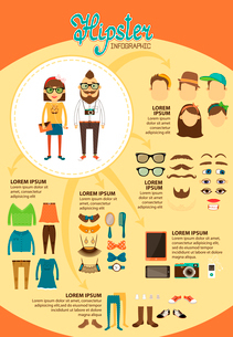 Hipster infographics with fashion design elements for vintage presentation and marketing report vectのイラスト素材 [FYI03091034]