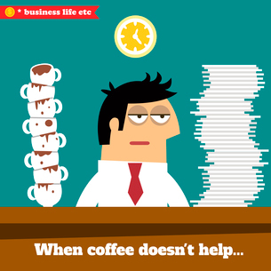 Business life. Fatigued and exhausted executive late at work when coffee doesn,t help vector illustrのイラスト素材 [FYI03091035]