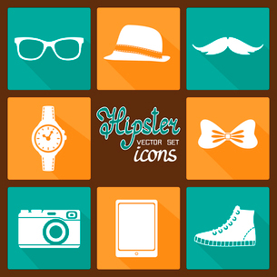 Hipster accessories pictograms set of clothes and items vector illustrationのイラスト素材 [FYI03091038]