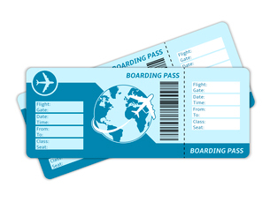 Blank plane tickets for business trip travel or vacation journey isolated vector illustrationのイラスト素材 [FYI03091039]