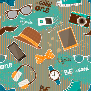 Hipster seamless elements of retro hat and music player camera  vector illustrationのイラスト素材 [FYI03091047]